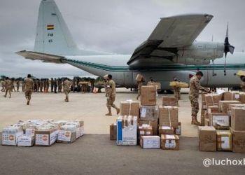 El avión que trajo al país los medicamentos anticovid. / Foto: @LuchoxBolivia.