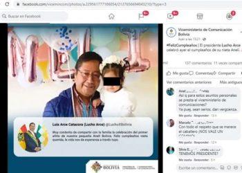 Publicación de Twitter del Presidente Luis Arce Catacora