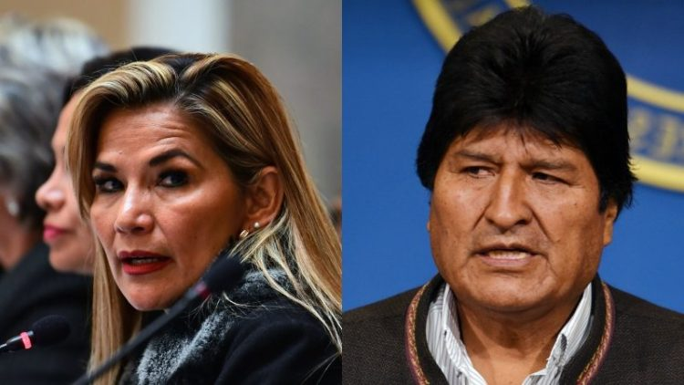 Jeanine Añez y Evo Morales
