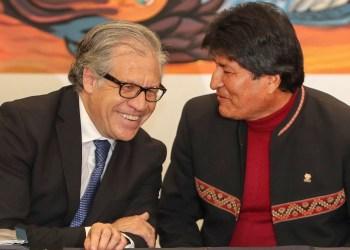BOL01. LA PAZ (BOLIVIA), 17/05/2019.- El secretario general de la Organización de Estados Americanos (OEA), Luis Almagro (i), conversa con el ex presidente de Bolivia, Evo Morales (d). EFE/ Martín Alipaz