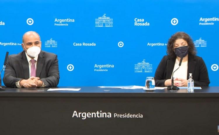 La ministra de Salud, Carla Vizzotti, y el flamante jefe de gabinete, Juan Luis Manzur.