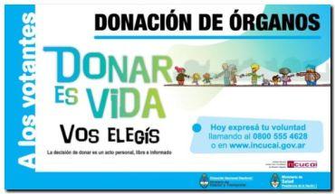"""ELECCIONES 2017: El Incucai dispone una línea telefónica para decir """"soy donante"""" el fin de semana de las PASO"""