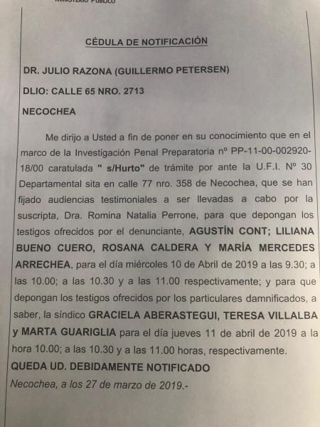 ROBO DE CHEQUES: Citación a declarar de testigos