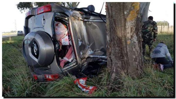ACCIDENTE: Tres necochenses resultaron ilesos en un vuelco en la ruta 88