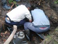 Obras Sanitarias repara un caño maestro en Diagonal San Martín