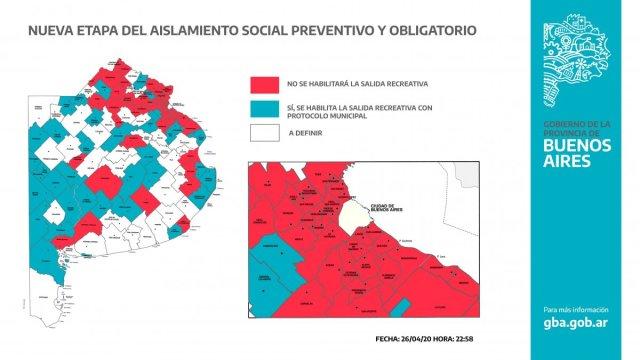 Kicillof publicó mapa con los distritos en los que se podrá salir una hora por día