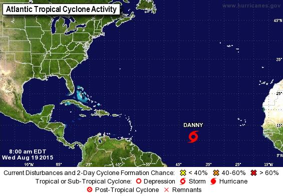 Mañana jueves la tormenta Danny se convertirá en huracán