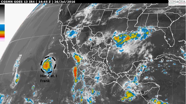 Frank se convirtió en huracán de categoría 1 en el Pacífico mexicano