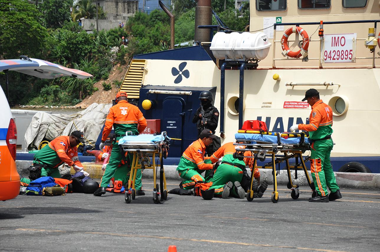 Realizan un simulacro de protección a gran escala en Puerto de Haina