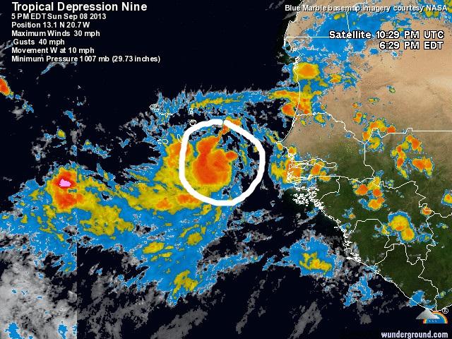 Novena depresión en el Atlántico se convierte en tormenta tropical Isaac
