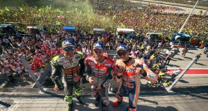 El podio del Moto GP. (Twitter @MotoGP)