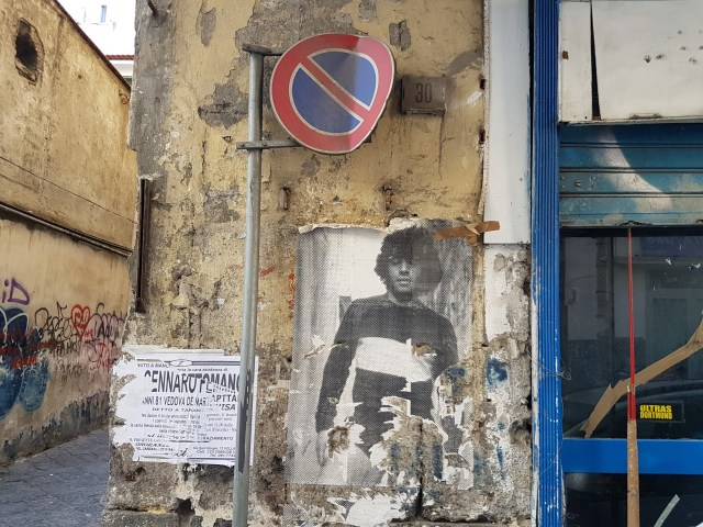 Mural de Maradona en Nápoles. (Foto: Lucas Amestoy).