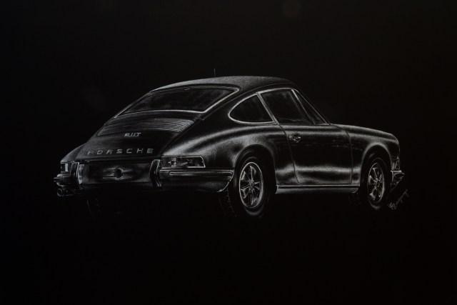 Porsche 911T, uno de los trabajos de Yamila. (foto: Ahoraroma.com).