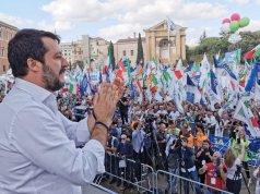Matteo Salvini en la marcha de la derecha.