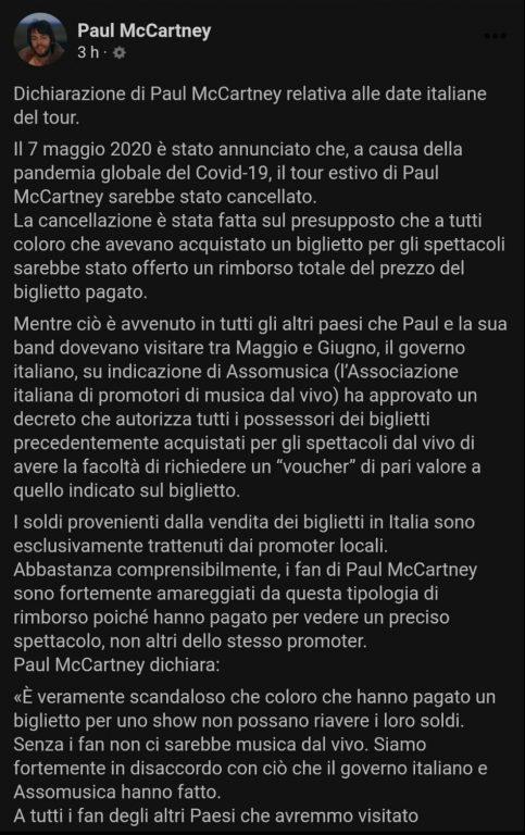 Posteo de Paul McCartney.