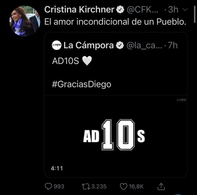 Publicación Cristina Kirchner.