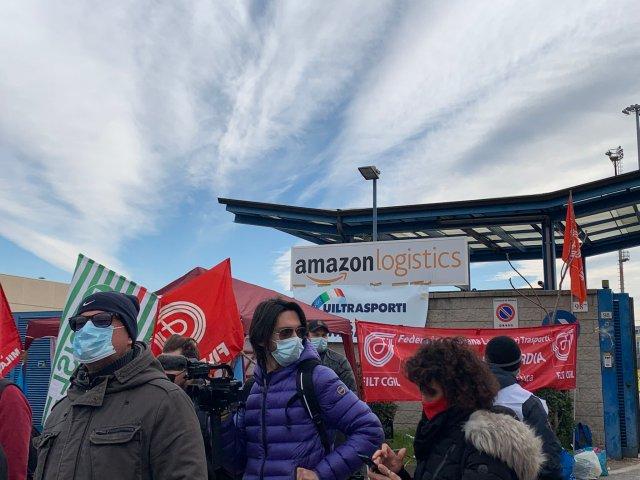 Huelga de los trabajadores de Amazon (Foto: FILT - CGIL)