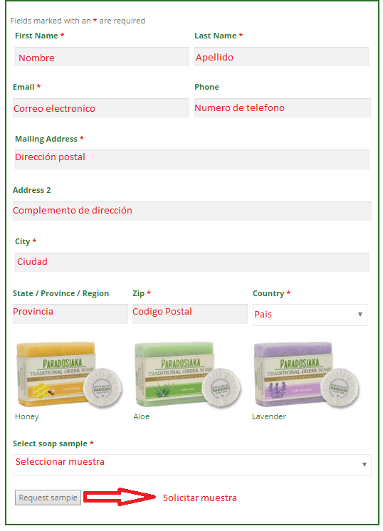 muestras gratis de jabón griego