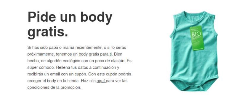Pide un body para bebe gratis
