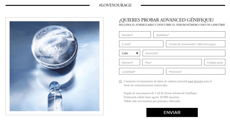Muestras gratis de Advanced Genifique de Lancome