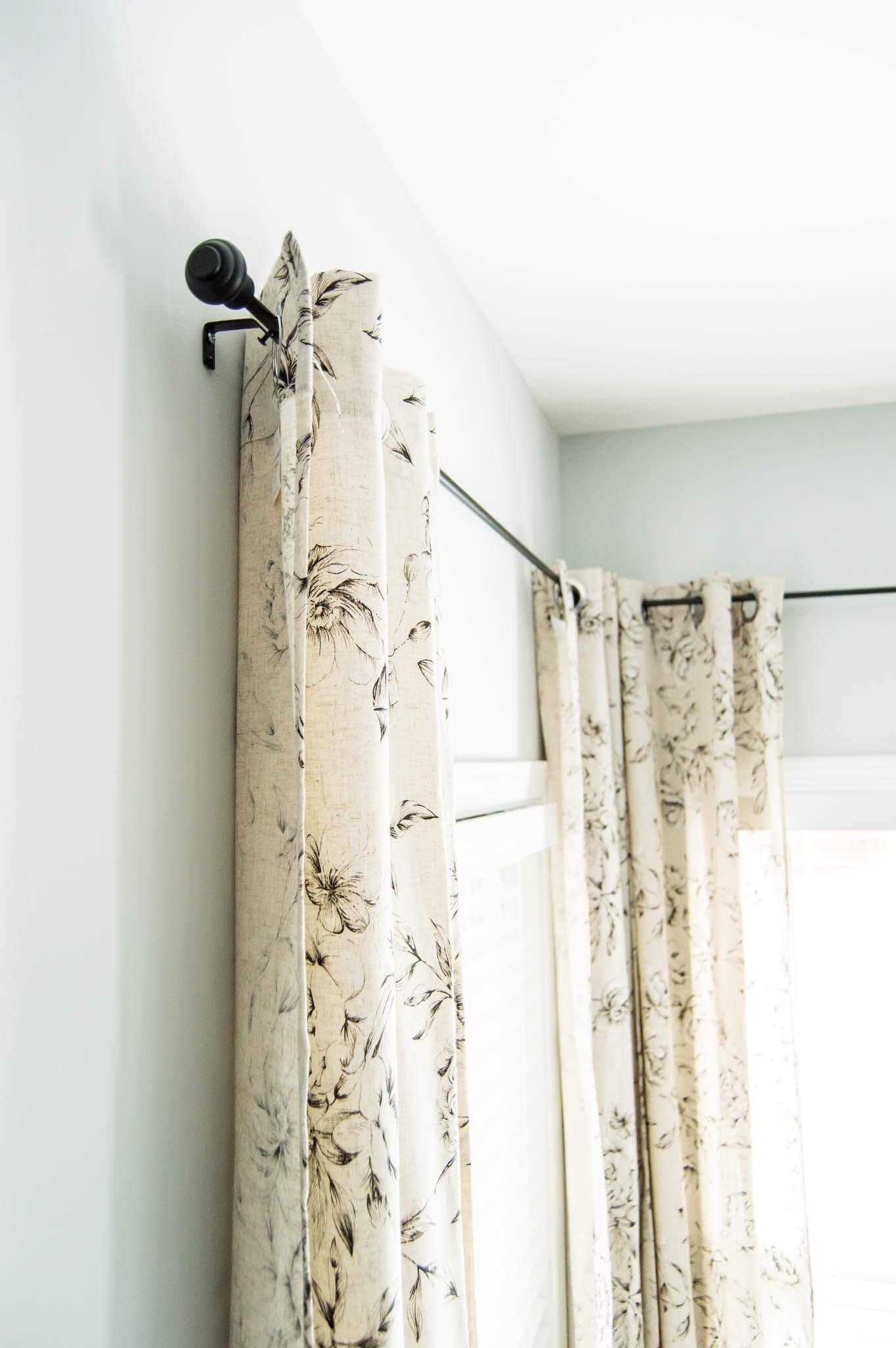 The Perfect Farmhouse Floral Curtains + My Curtain Hanging ... on Farmhouse Curtain Ideas  id=41596