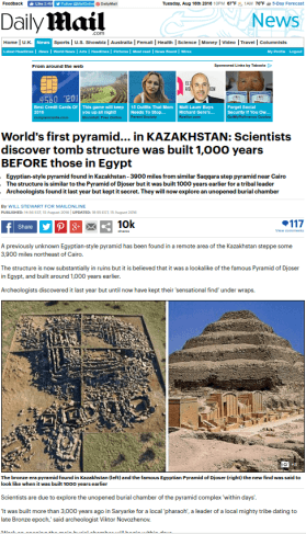 "Screen grab of the Daily Mail's false headline about the ""world's oldest pyramid."""