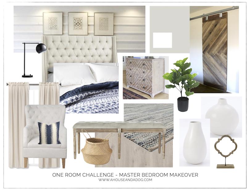 One Room Challenge - Master Bedroom Makeover Design Plan   ahouseandadog.com