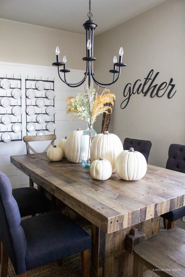 Simple Fall Tablescape - white pumpkins & wheat stems | ahouseandadog.com
