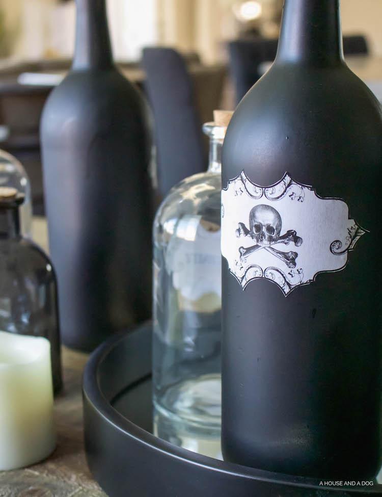 DIY Halloween Apothecary Jars and Tablescape | ahouseandadog.com