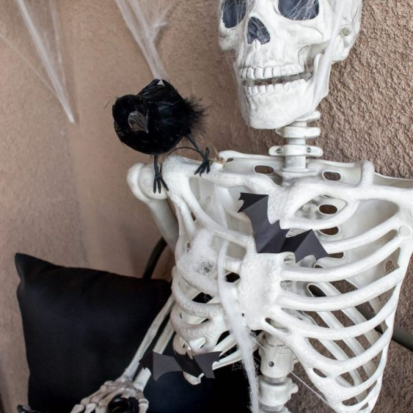 Simple & Spooky Halloween Porch - Skeletons & Bats | ahouseandadog.com