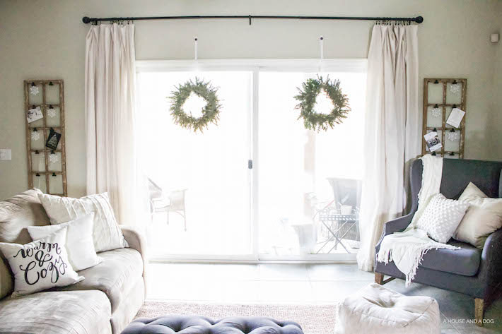 Modern Farmhouse Christmas - Living Room | ahouseandadog.com