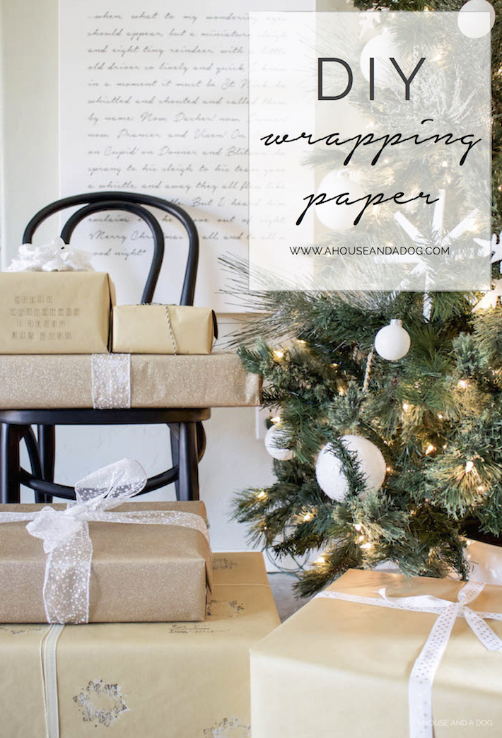 DIY Wrapping Paper - Christmas Tutorial with Stamps | ahouseandadog.com