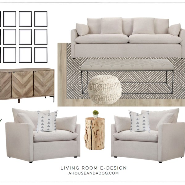 Living Room e-Design with Joss & Main | ahouseandadog.com