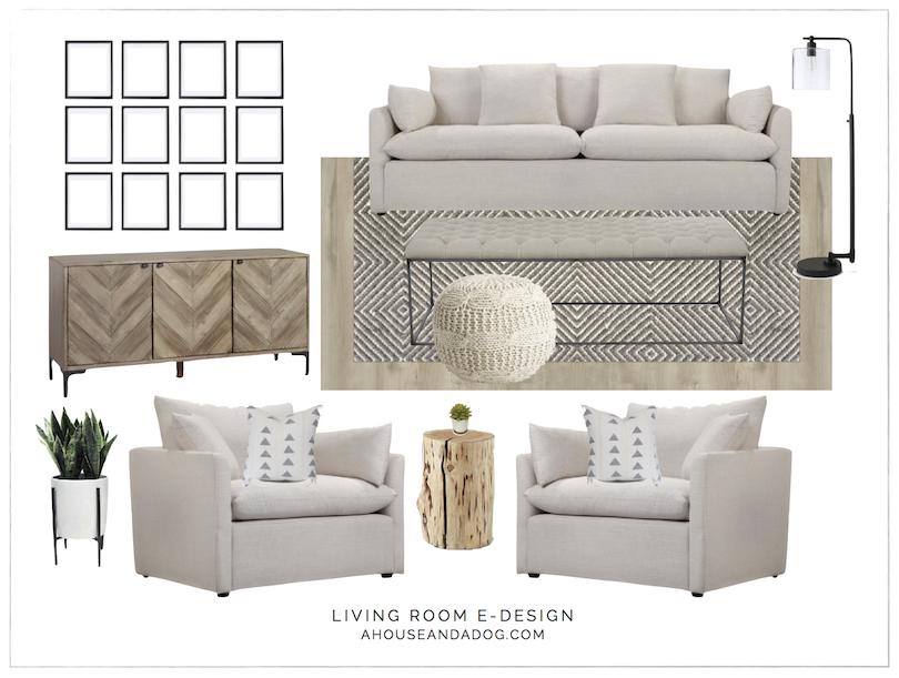 Living Room e-Design with Joss & Main | ahouseandadog.com