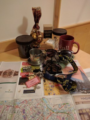 random food related stuff and tourist maps laid out on my new desk