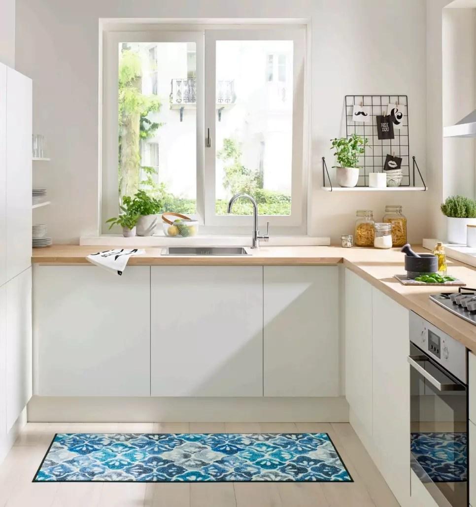 tapis tapis coureur cuisine couloir blue ground