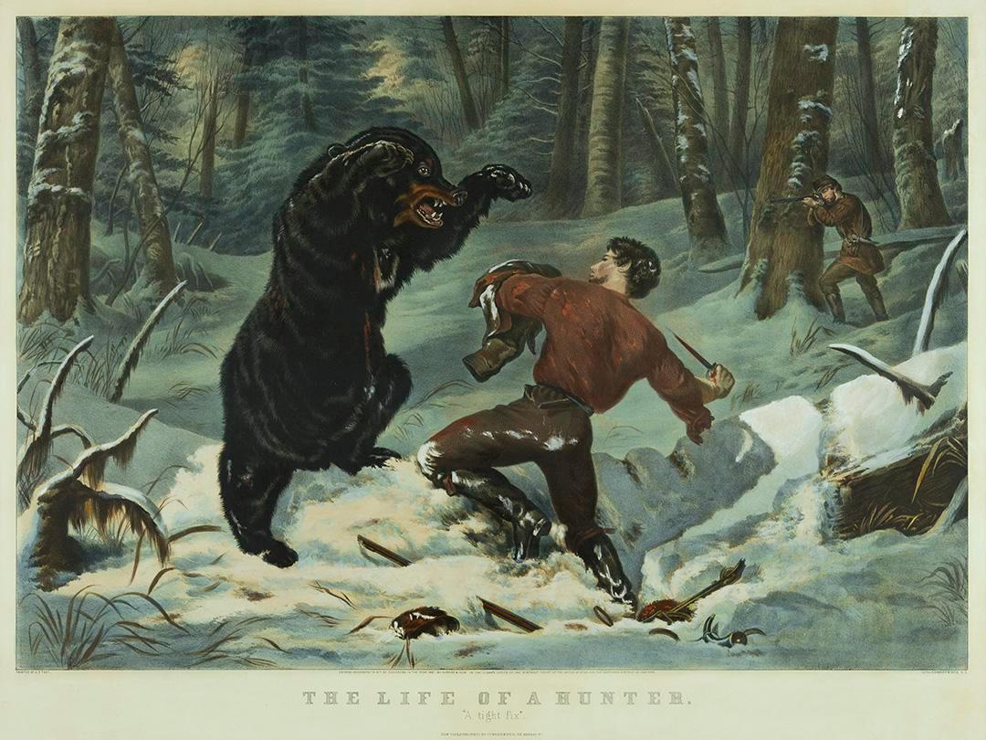 Currier & Ives, The Life of a Hunter. 'A tight fix'