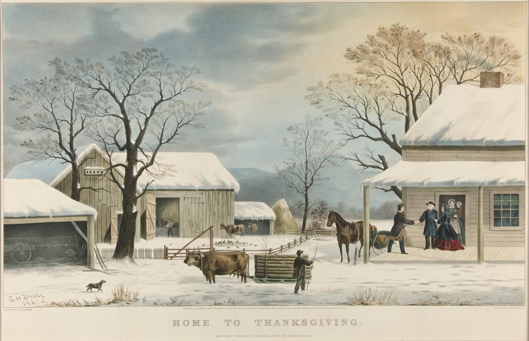 Currier & Ives, George H. Durrie, Home to Thanksgiving