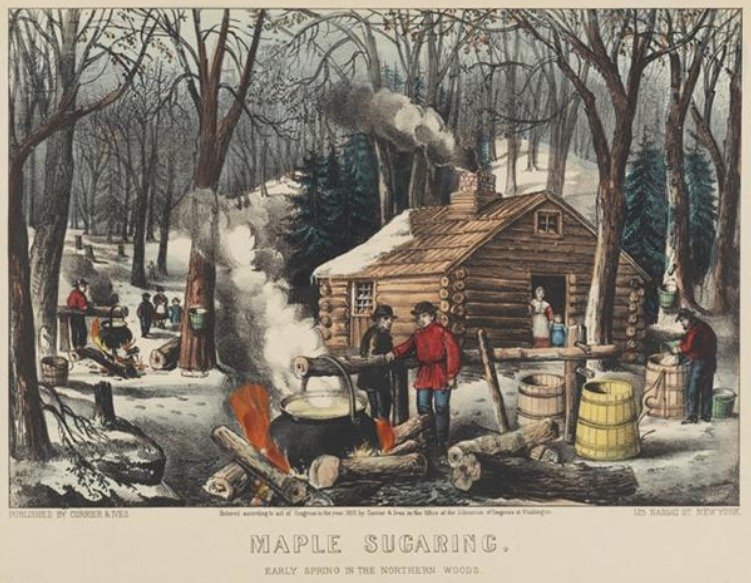 Currier & Ives, Maple Sugaring. Early Spring in the Northern Woods
