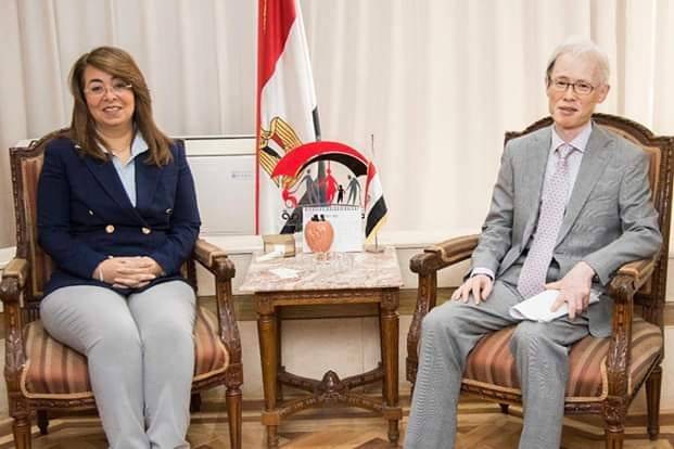 غادة والي وزيرة التضامن الاجتماعي تستقبل سفير اليابان بالقاهرة