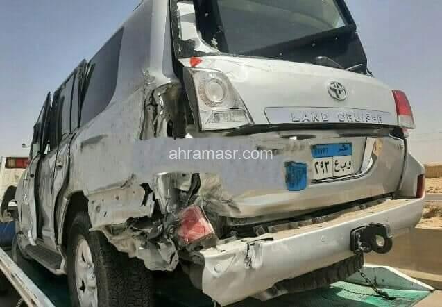 اصابه وزيز الشباب والرياضه في حادث علي الطريق الصحراوي