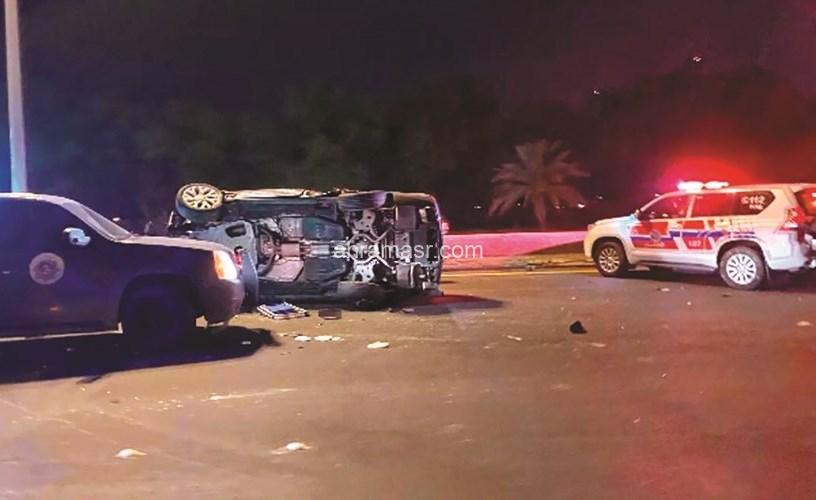 بسبب السرعة الزائدة مصرع شخصين بحادث انقلاب سيارة بصلاح سالم