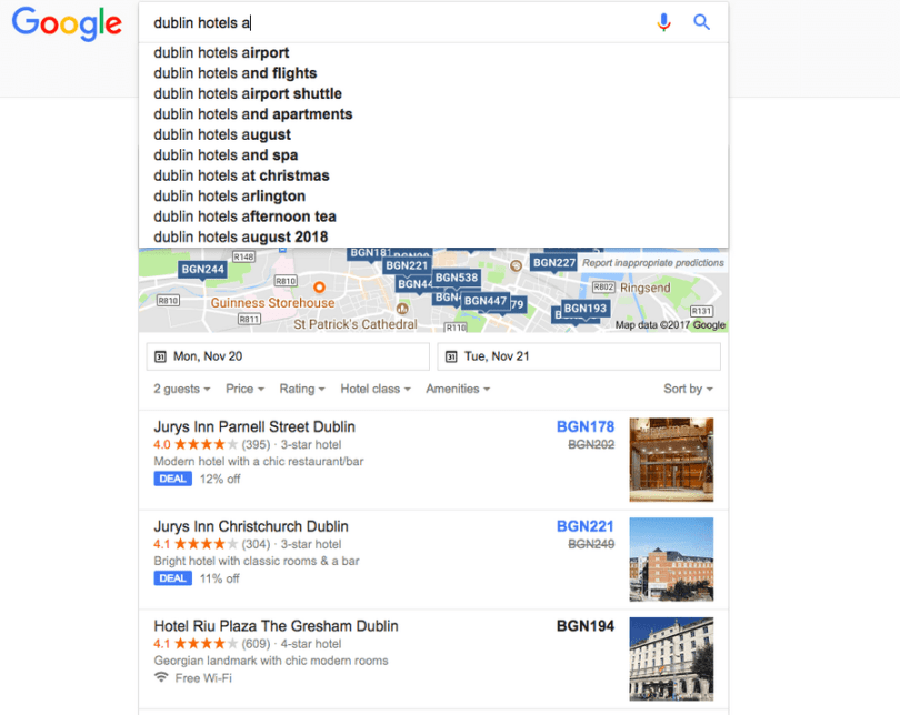 Dublin hotels autocomplete suggestions