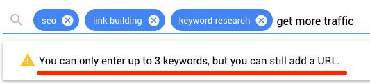 Planificador de palabras clave de más de tres kw.