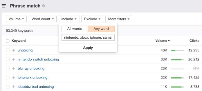 keywords explorer filters