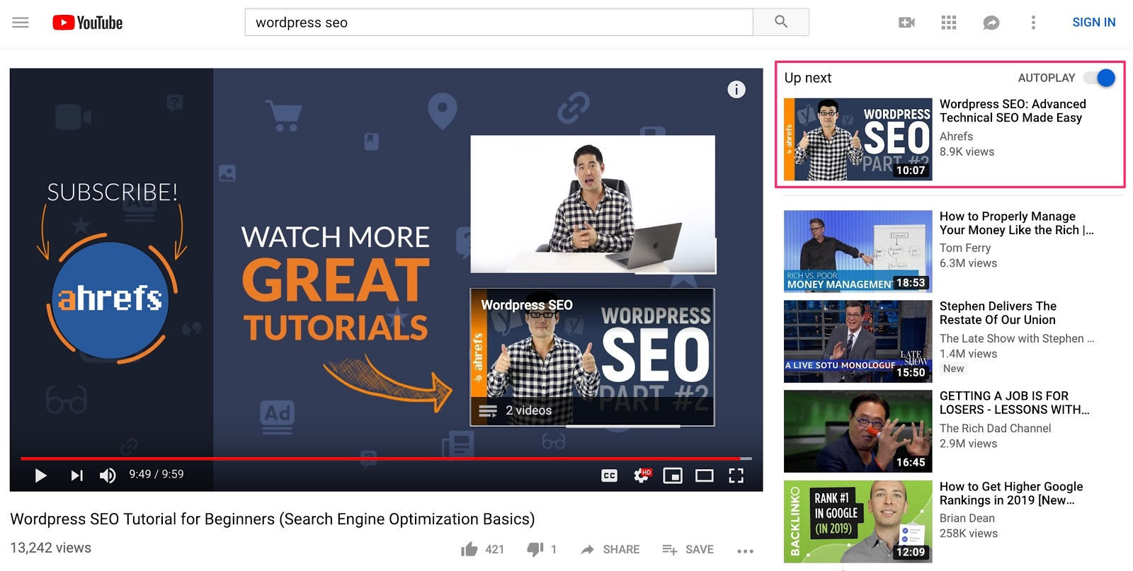 "youtube suggested video"" srcset=""https://i1.wp.com/ahrefs.com/blog/wp-content/uploads/2019/03/youtube-suggested-video.jpg?ssl=1 1600w, https://ahrefs.com/blog/wp-content/uploads/2019/03/youtube-suggested-video-768x387.jpg 768w, https://ahrefs.com/blog/wp-content/uploads/2019/03/youtube-suggested-video-680x343.jpg 680w"" sizes=""(max-width: 1600px) 100vw, 1600px"