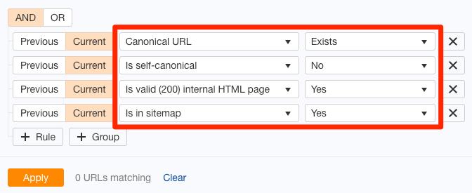 canonicals filter site audit