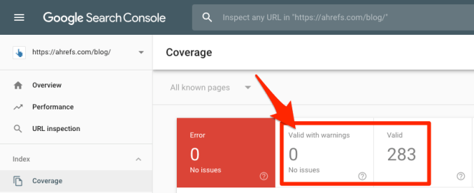google search console valid pages