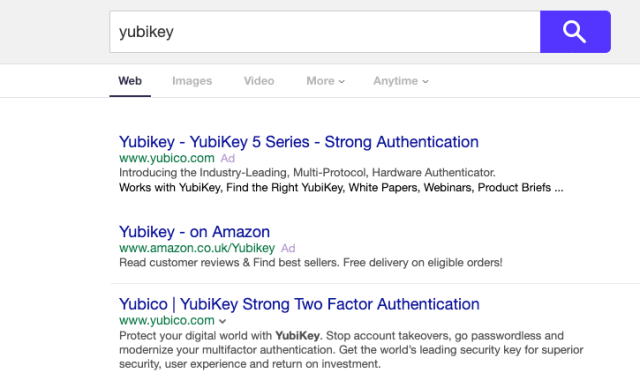 yahoo search result