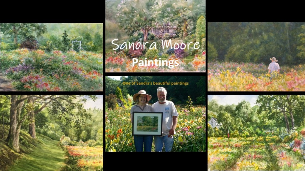 A collage of some of the paintings of Blue Ridge Daylilies by artist Sandra Moore
